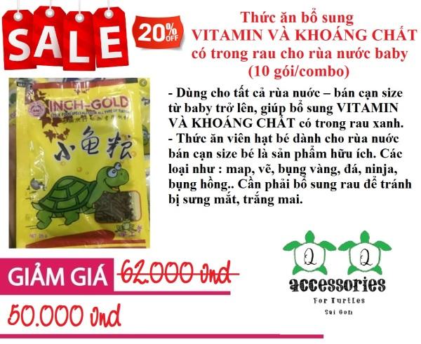 Thức ăn bổ sung VITAMIN VÀ KHOÁNG CHẤT có trong rau cho rùa nước baby (10 gói/combo)