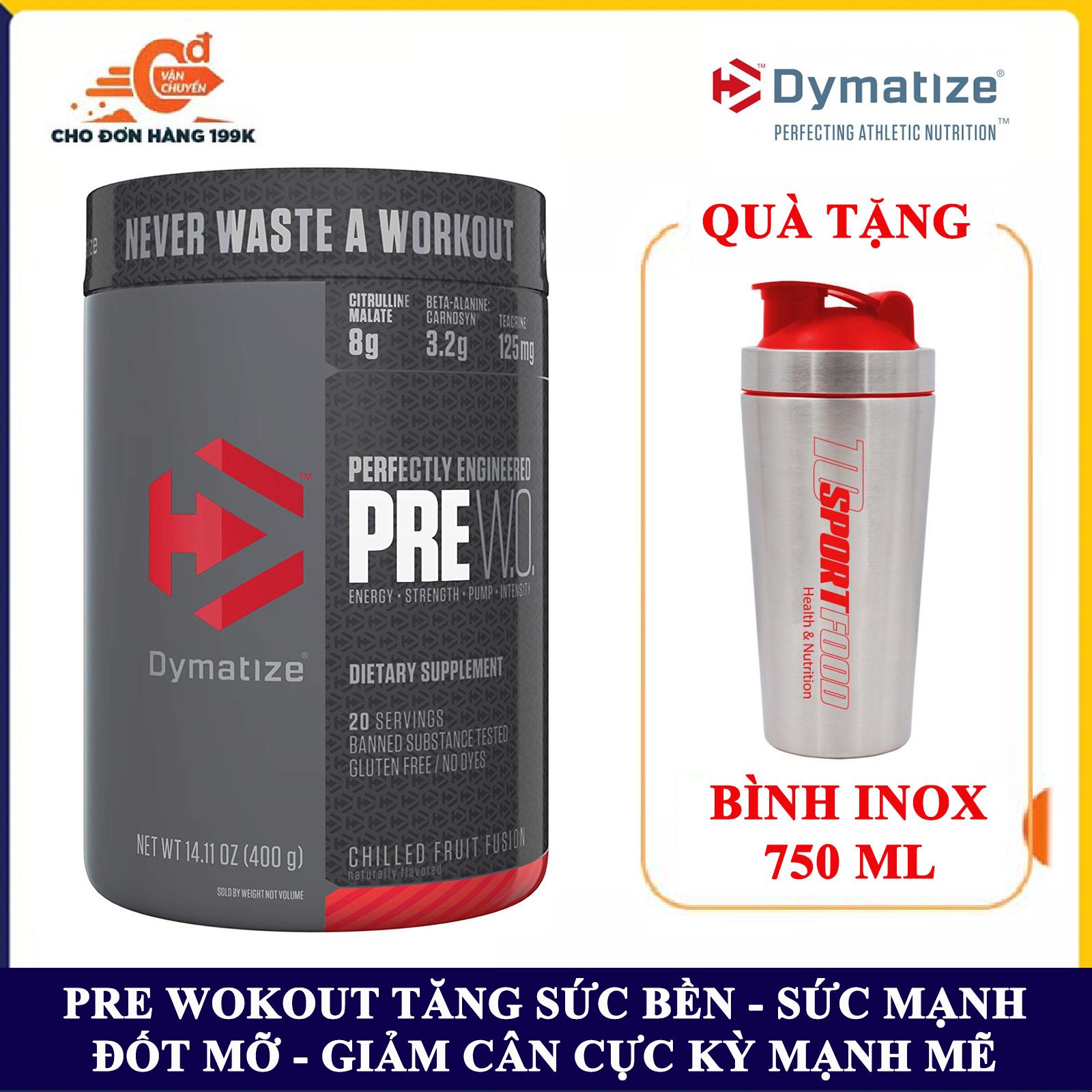 [FREE SHAKER INOX] Pre Workout tăng sức bền sức mạnh PRE WO của DYMATIZE hỗ trợ tăng sức bền, sức mạnh, đốt mỡ, giảm cân, giảm mỡ bụng mạnh mẽ cho người tập GYM và chơi thể thao nhập khẩu