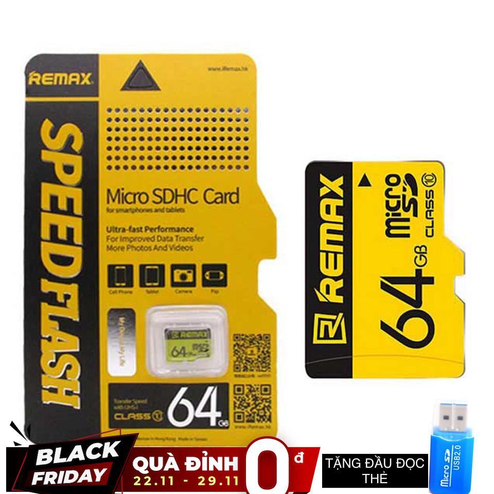 Thẻ nhớ 64Gb thương hiệu Remax bảo hành 12 tháng tặng kèm đầu đọc thẻ nhớ - có thể dùng với cổng USB Bảo hành 5 năm