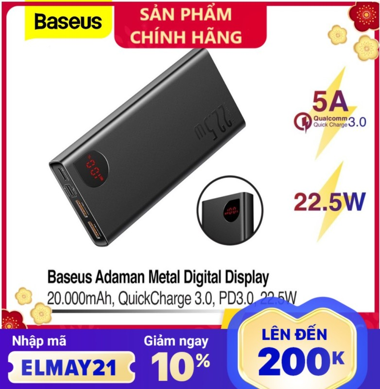 Pin dự phòng sạc nhanh Baseus Adaman Metal Digital Display Quick Charge 22.5W 10000mAh / 20000mAh abshop