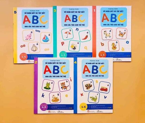 Mua Bộ Vở nhận biết và tập viết ABC qua các trò chơi trí tuệ (5 cuốn)