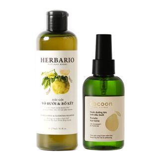 Combo dầu gội Herbario và xịt dưỡng tóc vỏ bưởi Pomelo Cocoon