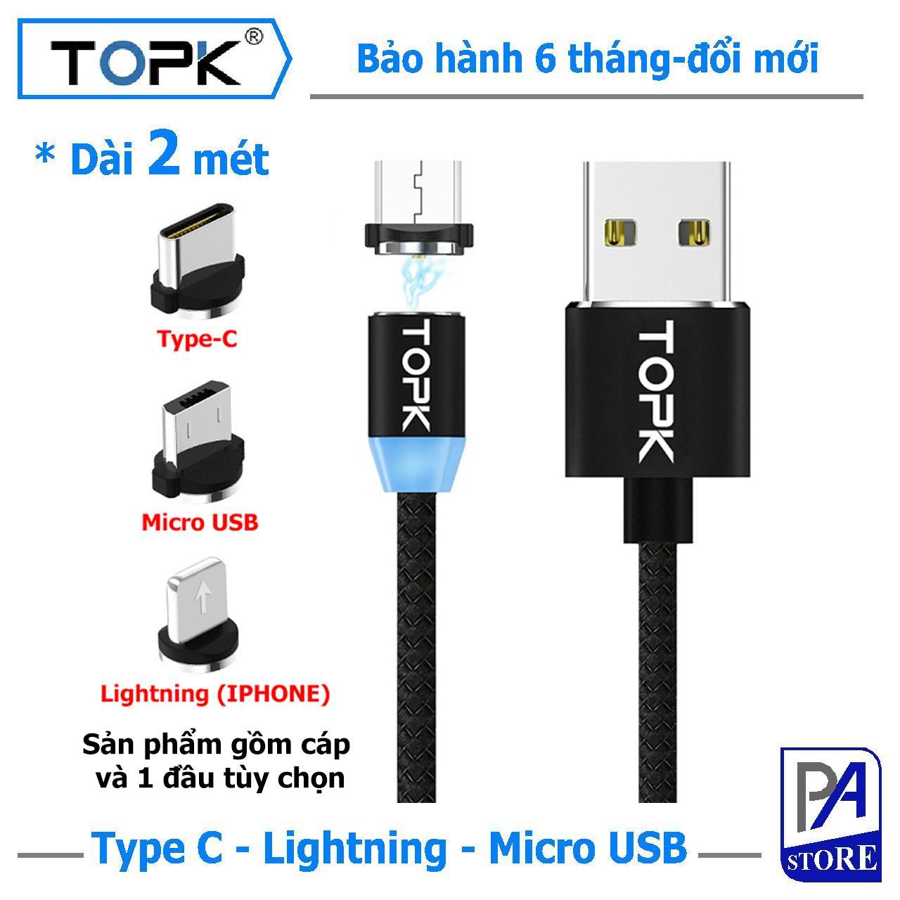 Cáp Sạc Nam châm TOPK, Dài 2 mét, Đầu Thẳng (1 Trong 3 Đầu Iphone Lightning, Micro USB, Type C)