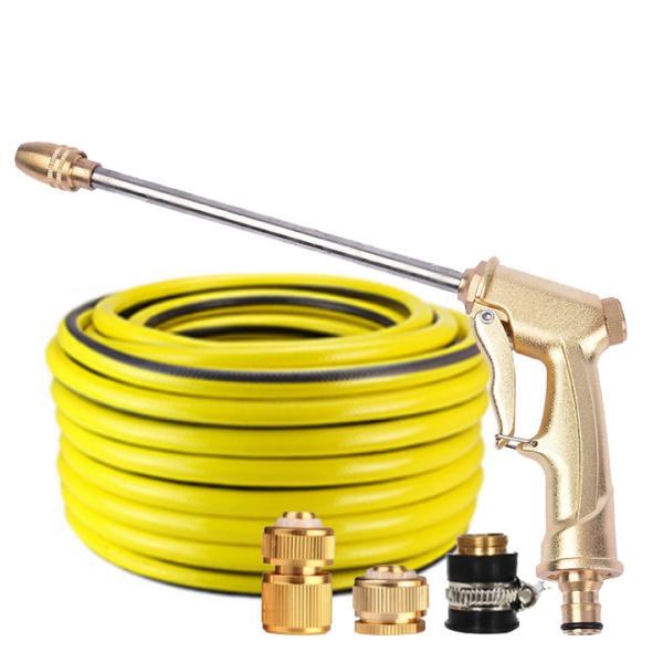 Vòi nước vòi phun nước rửa xe tưới cây tăng áp thông minh + bộ dây bơm nước 20m cao cấp TLG 701-3498 đầu đồng, cút đồng(vàng)