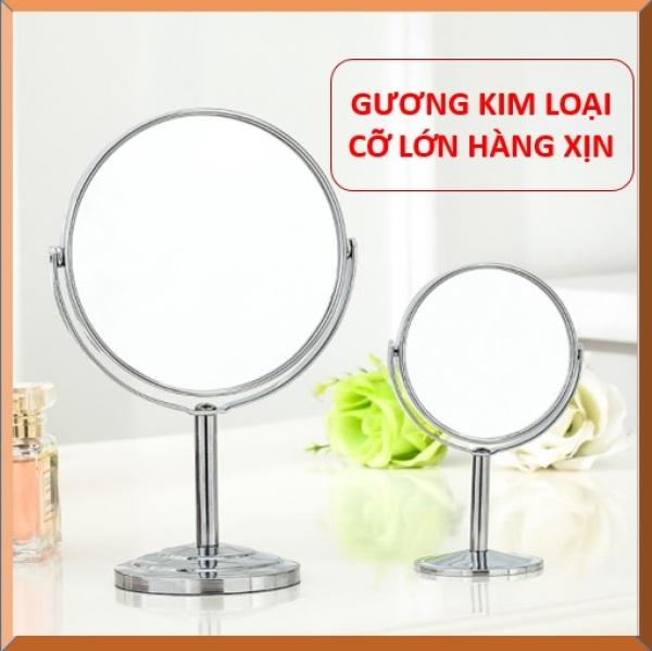 Gương để bàn size lớn - Gương trang điểm 2 mặt xoay 360 độ zoom x2 khung hợp kim không gỉ