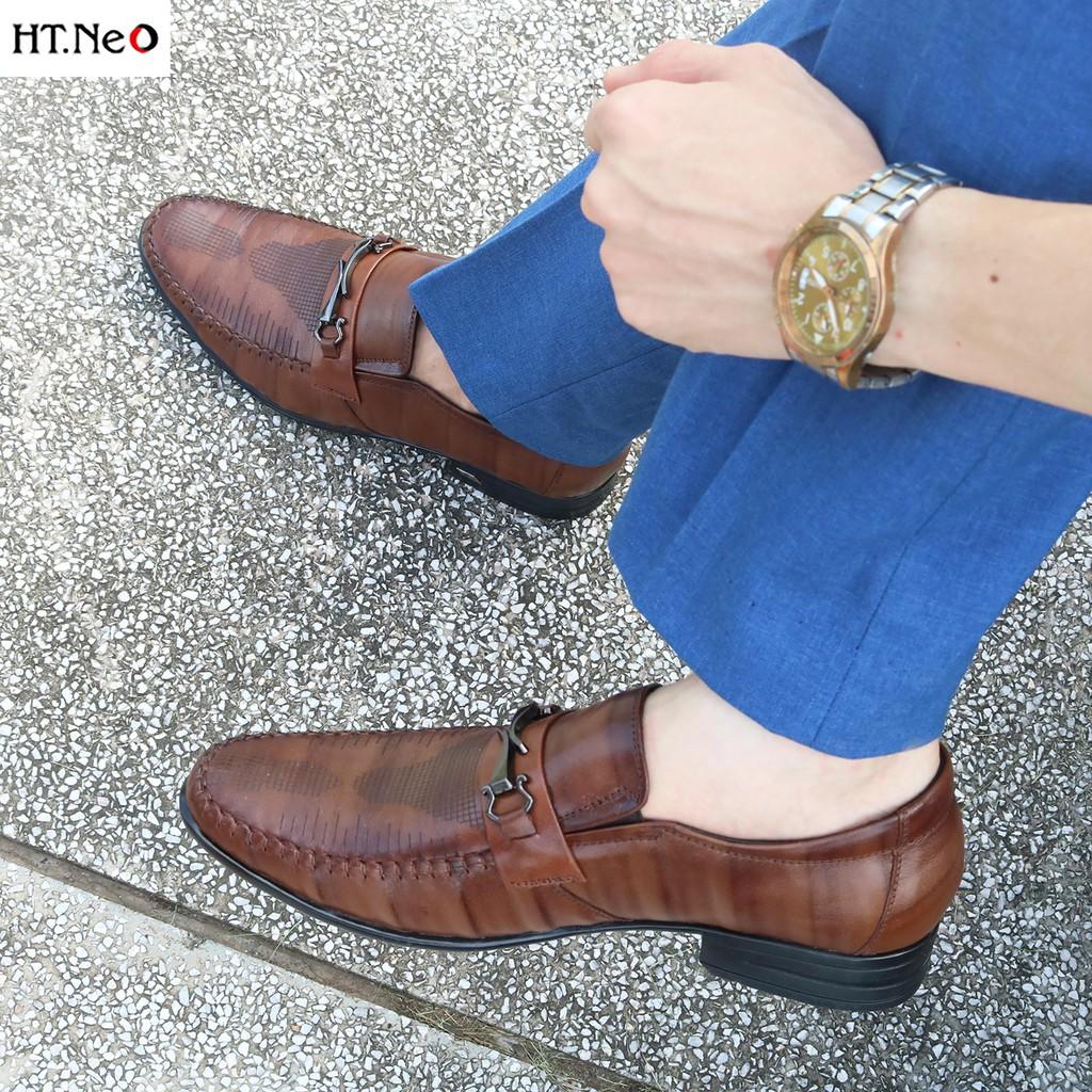Giày Tây Lười Nam 💝 Ht.Neo 💝 Da Bò Cao Cấp Dập Vân Thời Trang Cực Đẹp, Siêu Bắt Mắt Thích Hợp Quần Tây, Quần Jean (Gt99)