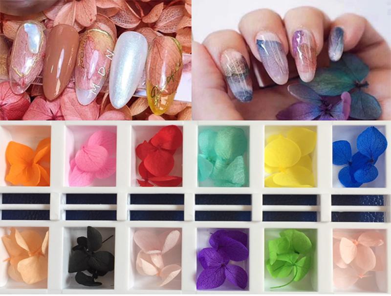 Sét hoa lụa 12 màu chăm sóc trang trí móng làm nail theo phong cách hàn quốc