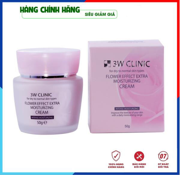 [Hàng Nhập Khẩu Hàn Quốc] Kem dưỡng trắng da - Kem dưỡng ẩm chiết xuất hoa hồng 3W Clinic Flower Effect Extra Moisturizing Cream Hàn Quốc 50ml