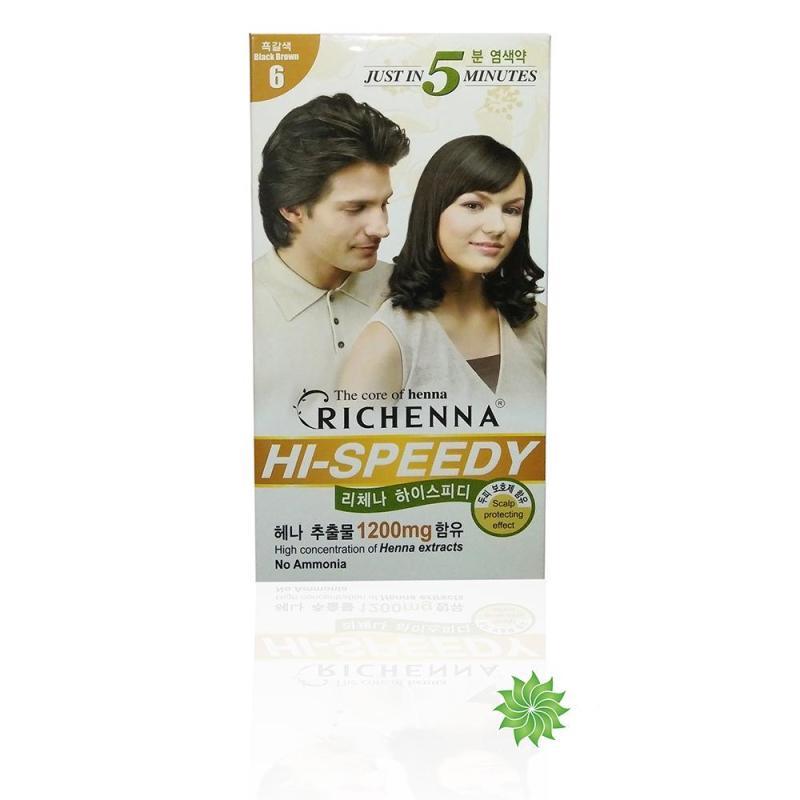 Thuốc nhuộm tóc phủ bạc thảo dược Richenna Hàn Quốc màu nâu đen 60g cao cấp