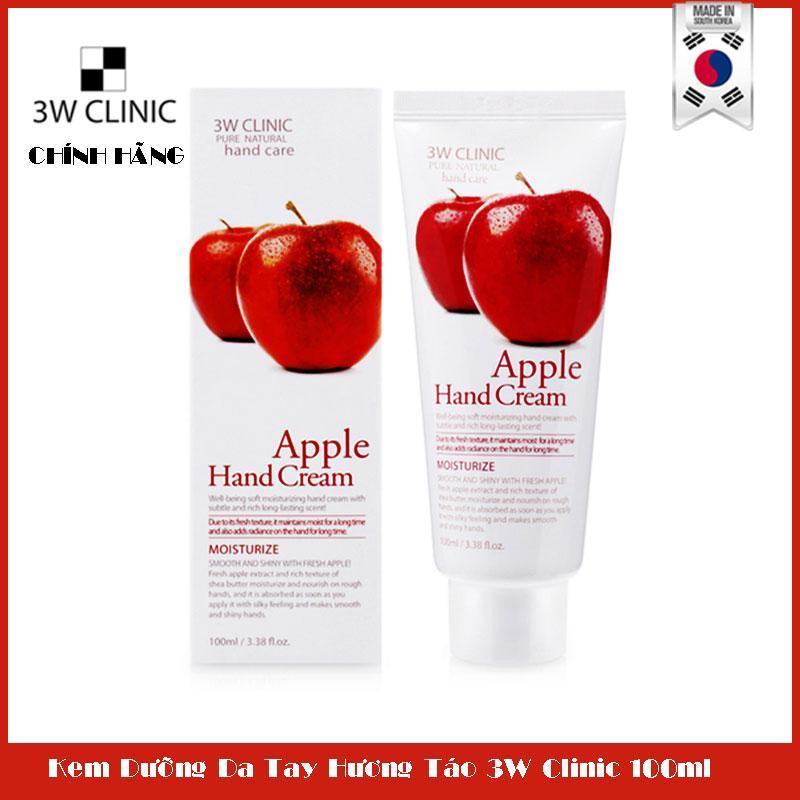 Kem dưỡng da tay hương táo 3W CLINIC Moisturizing Apple Hand Cream100ml