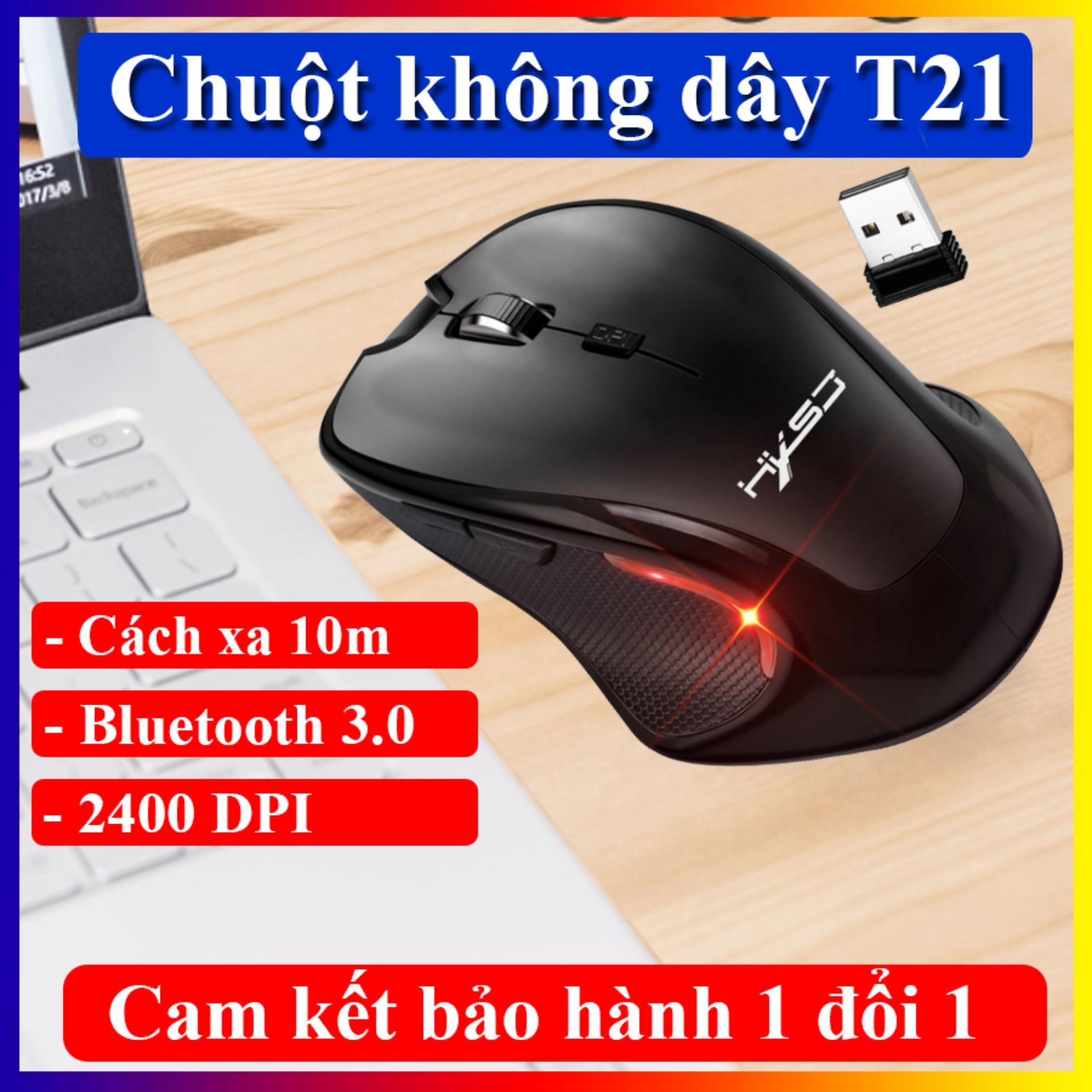 Giá Chuột máy tính không dây HXSJ- T21 hỗ trợ kết nối bluetooth 3.0, độ nhạy chuột lên đến 2400 DPI phù hợp với văn phòng và game thủ.