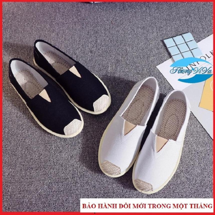 Giày slip on nữ chất liệu vải, mũi cói cách điệu, đế mềm đi êm chân, giày lười nữ đẹp, giày Viva giá rẻ