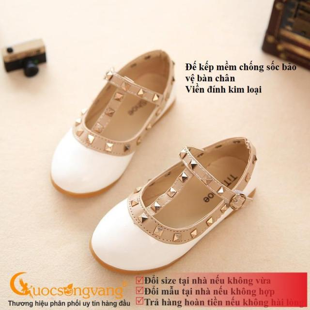 Giày học sinh màu trắng giày bé gái đính kim loại màu GLG075 giá rẻ