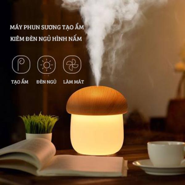 Máy phun sương tạo ẩm mini kiêm đèn ngủ hình nấm vân gỗ Jisulife JM02, phun sương tạo ẩm, làm sạch không khí, dưỡng ẩm làn da - Dung tích 250ml - Dây cắm USB tiện lợi