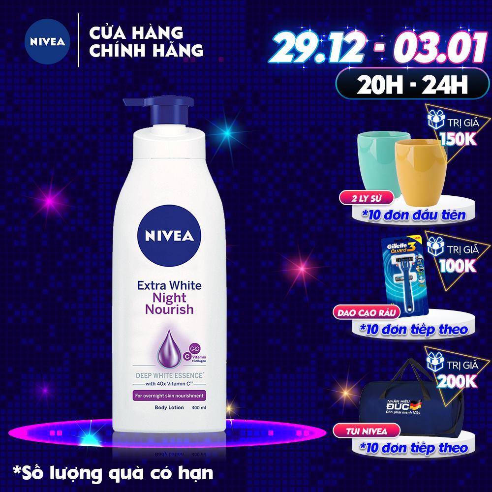 Sữa dưỡng thể dưỡng trắng & săn chắc da Nivea ban đêm 400ml - 88126