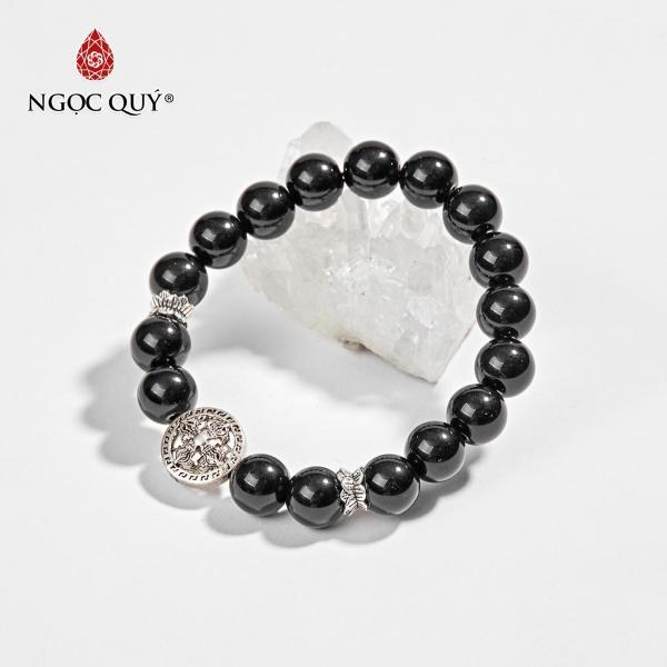 Vòng Tay Phong Thủy Đá Núi Lửa Phối Charm Bạc 9mm Mệnh Mộc , Thủy - Ngọc Quý Gemstones