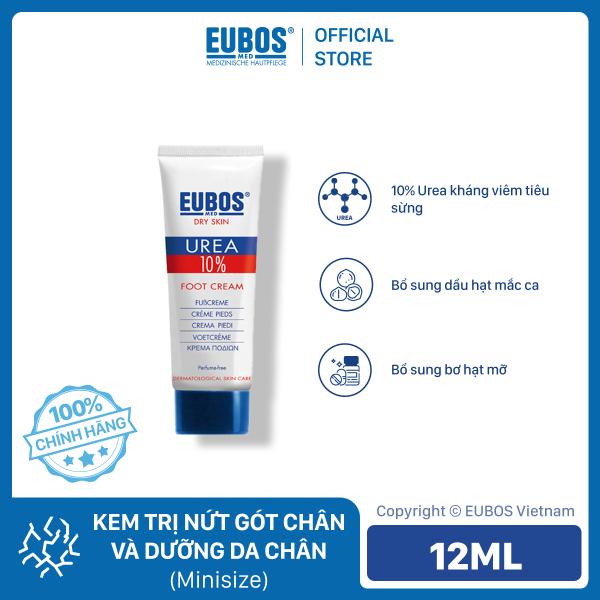 Combo mini 2 chai Kem dưỡng bàn chân da khô nứt nẻ nứt gót chân EUBOS Urea 10% Foot cream size du lịch 12ml [HSD 30/09/2021]