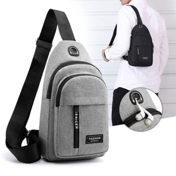 Túi đeo chéo nam vải canvas chống nước, túi chéo nam thiết kế 3 ngăn rộng rãi để đồ, túi vải đeo chéo phong cách Hàn Quốc