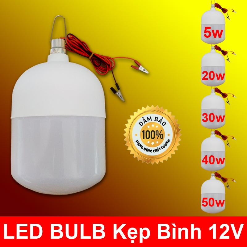 Bóng đèn LED 12v kẹp bình 5W - 20W - 30W - 40W - 50W Loại Tốt (BH 12 Tháng)