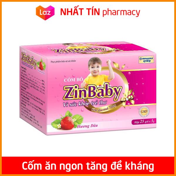 Cốm ăn ngon tăng sức đề kháng, bổ sung kẽm, canxi, lysin cho bé từ 1 tuổi ZinBaby - Hộp 25 gói hương dâu - NHẤT TÍN PHARMACY cao cấp
