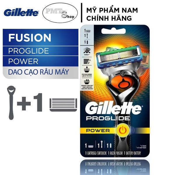 [Đức] Dao cạo râu máy cao cấp 5 lưỡi Gillette Fusion Proglide Power (Cán Dao + Lưỡi Dao + Đầu bảo vệ)