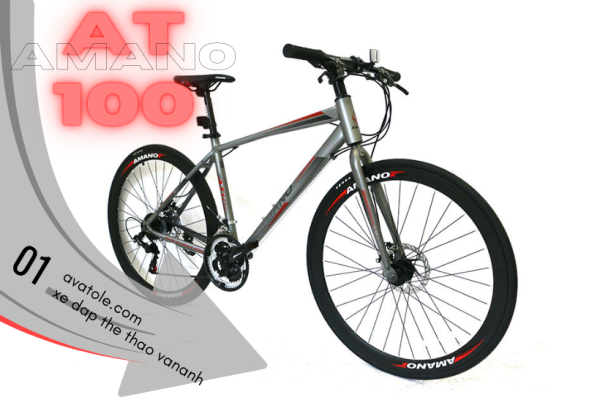 Phân phối Xe đạp đường trường Amano AT100, Khung sườn Hợp Kim Nhôm sơn tĩnh điện cao cấp, Trọng lượng 13kg, Hệ thống truyền động 21 tốc độ, Bánh xe 700C, Màu Đỏ Xám