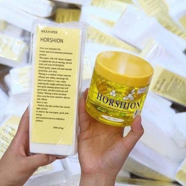 Sáp Wax lông Horshion con ong wax lạnh mật ong Hàn Quốc 750ml | Tặng kèm 100 tờ giấy wax