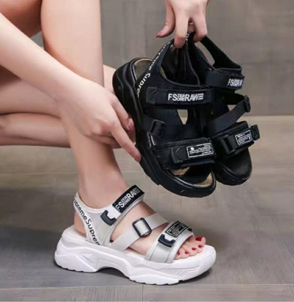 Dép sandal quai hậu nữ  chữ RAW cá tính đế mềm êm chân giá rẻ