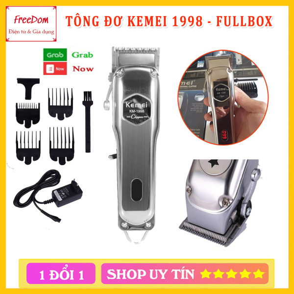 Tông đơ cắt tóc không dây chuyên nghiệp chất liệu hợp kim nhôm hàng không cao cấp Kemei KM-1998 có thể cắm điện sử dụng trực tiếp pin lithium 2000mAh chất lượng - hãng phân phối chính thức giá rẻ
