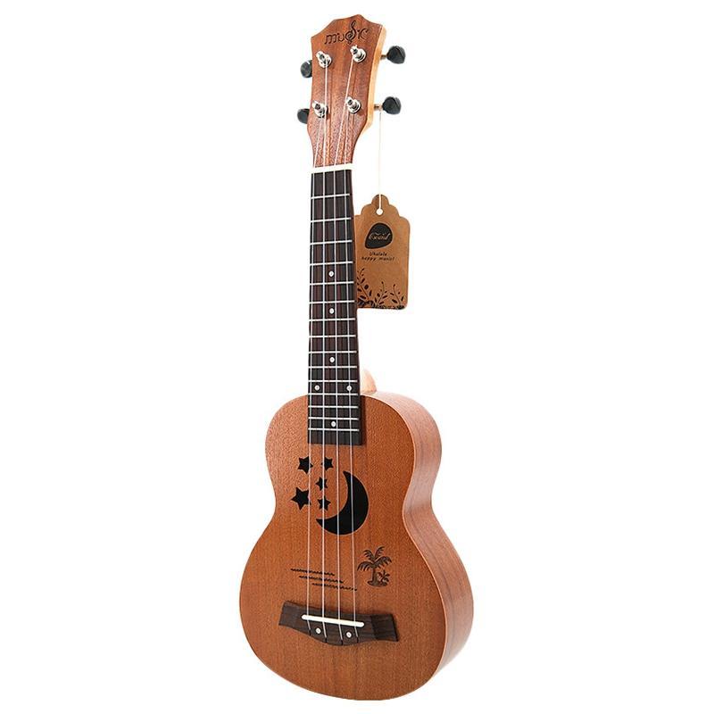 Soprano Ukulele 21 inch Sapele Star Pattern Ukulele 4 Nylon Strings Hawaii Mini Guitar Uke Fingerboard Rosewood Ukelele Music Instruments