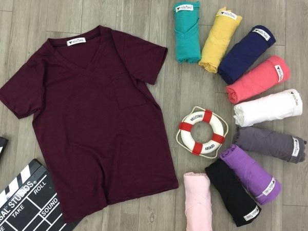 [ ảnh thật] Áo thun THÁI phối túi vải cotton mịn mát sang chảnh thời trang dễ phối trang phục 40-58kg