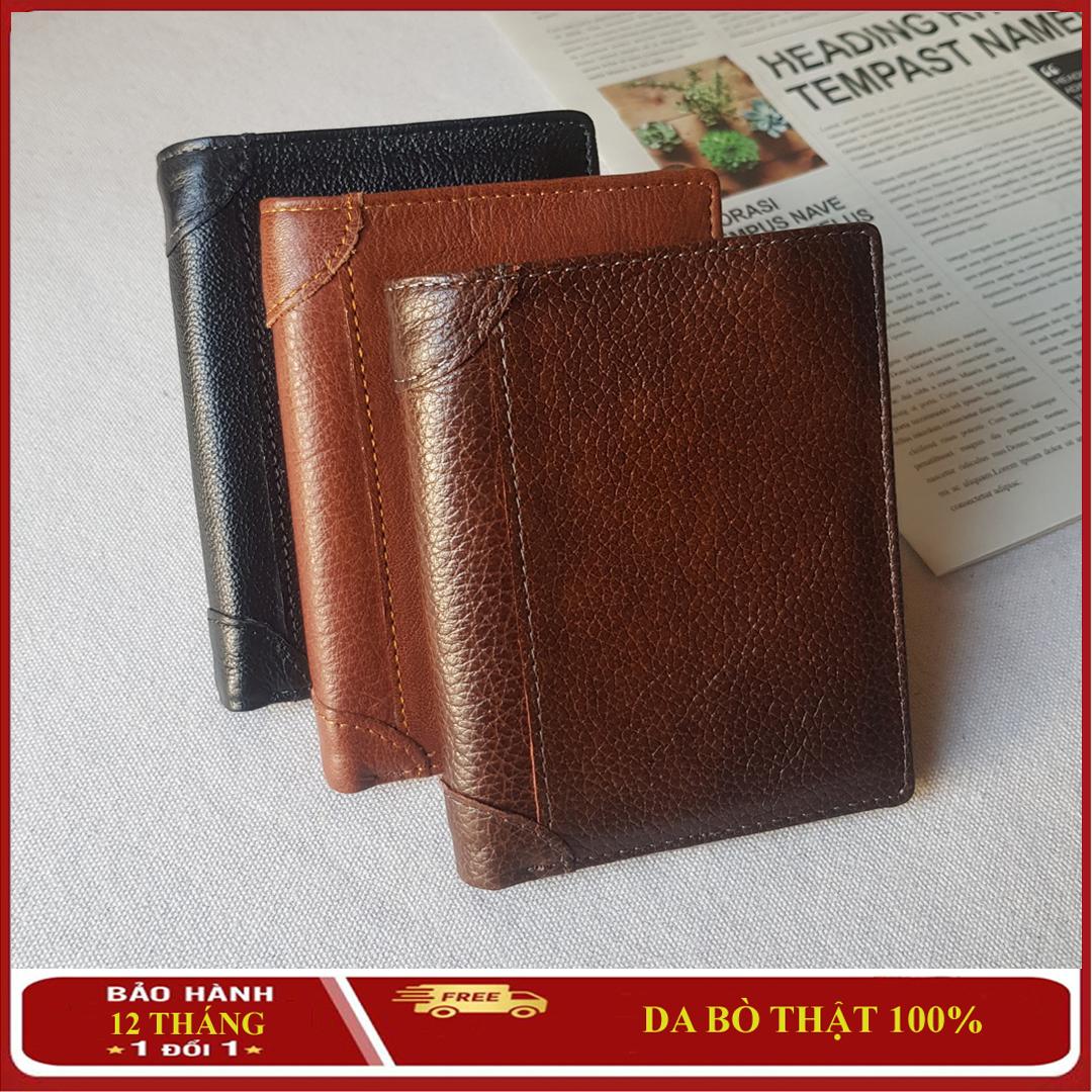 Ví, Bóp Đựng Tiền Nam DA THẬT, Kiểu dáng ví đứng nhiều ngăn, Ví Nam Da Bò Chakovet