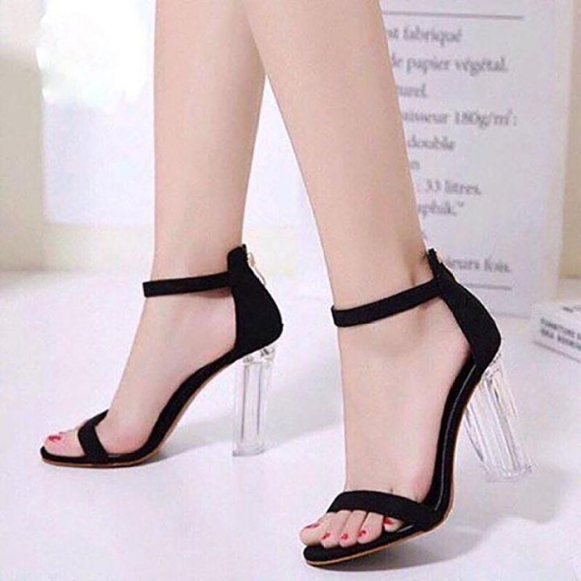 Giày cao gót vuông trong 9cm quai mảnh LZ050 giá rẻ