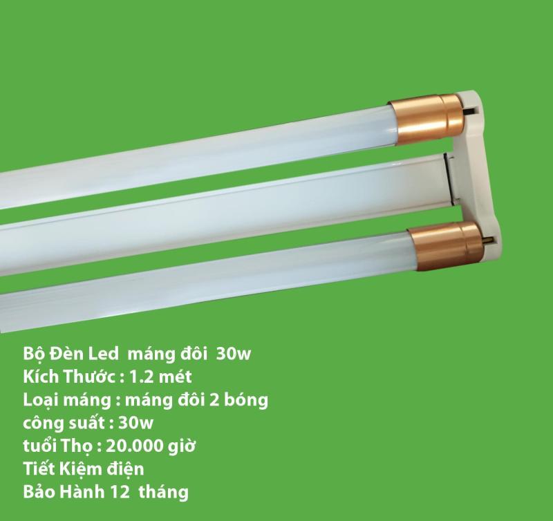 Bộ đèn Led tuýp đôi T8 : 2 bóng LED tube 1,2m x 30W