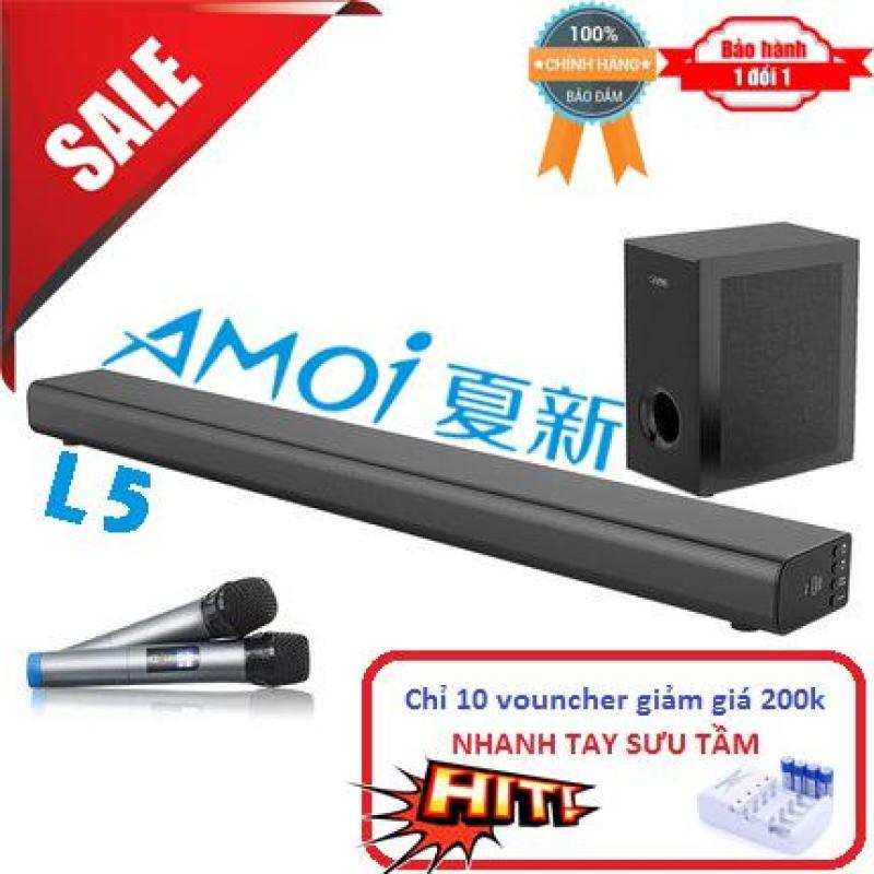 Dàn Karaoke cao cấp 5.1 Amoi-L5 có cục trầm cao cấp Kèm 2 Micro không dây - Hát Karaoke cực đỉnh - Tặng bộ pin sạc AA