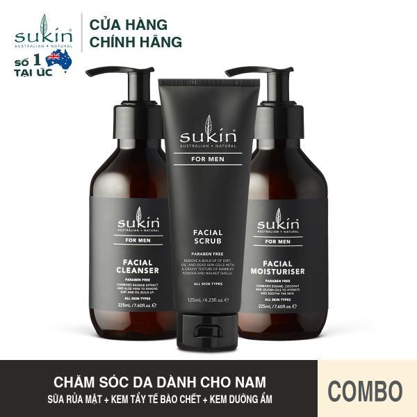 Bộ Chăm Sóc Da Mặt Dành Cho Nam Sukin For Men Facial (Men Cleanser 225ml + Men Scrub 225ml + Men Moisturiser 225ml) cao cấp