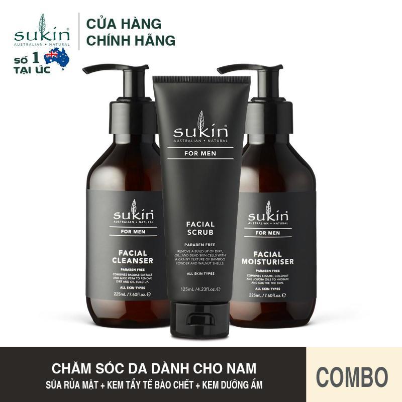 [QUÀ TẶNG ĐƠN TỪ 300K]Bộ Chăm Sóc Da Mặt Dành Cho Nam Sukin For Men Facial (Men Cleanser 225ml + Men Scrub 225ml + Men Moisturiser 225ml) giá rẻ