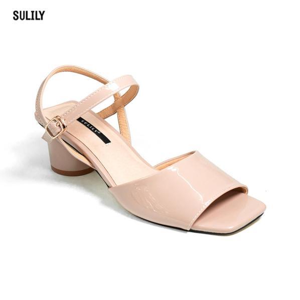 Giày Sandal Gót Vuông Mũi Vuông Sulily giá rẻ