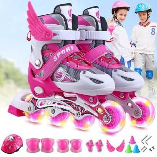 Giày Patin trẻ em cao cấp cùng set quà tặng đồ bảo hộ. Giày trượt patin thiết kế chắc chắn, ôm chân nhưng vẫn mang lại cảm giác thoải mái. COMBO set đồ chơi dành cho bé con năng động. thumbnail