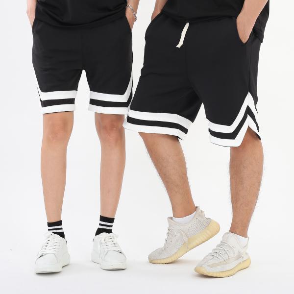 Quần short lửng 2 đen 2 viền trắng lưng thun unisex nam nữ, BOTEE - QS2V