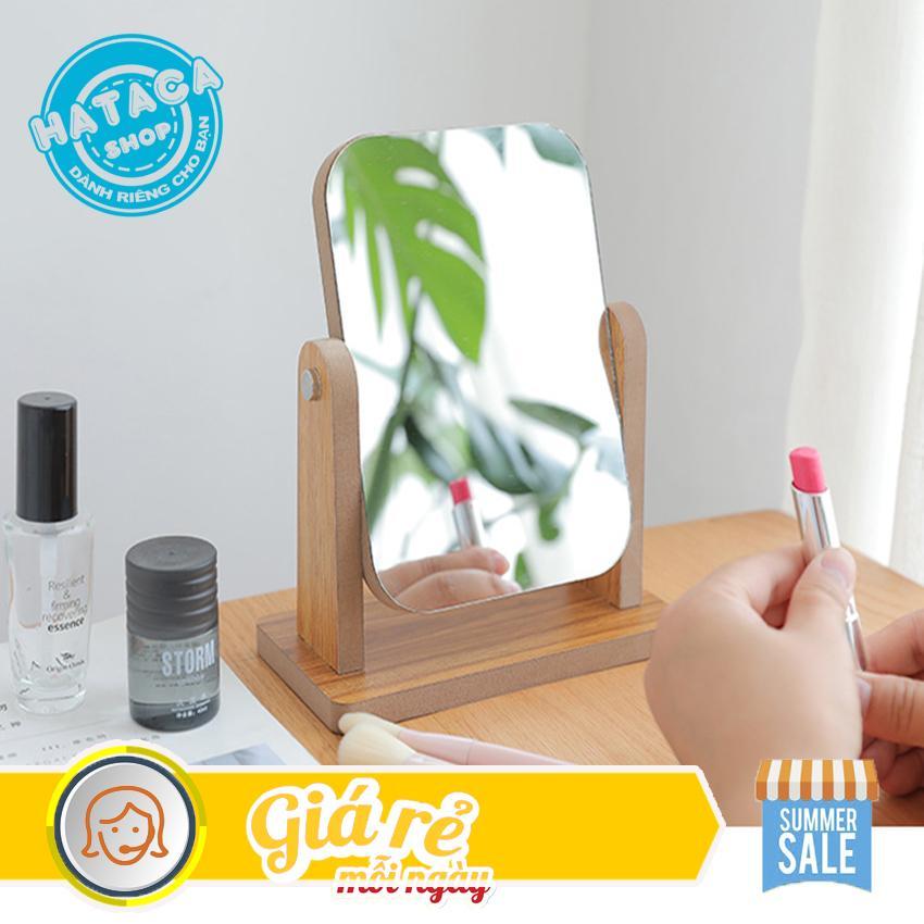 Gương trang điểm để bàn mini, chất liệu gỗ, xoay 360 độ