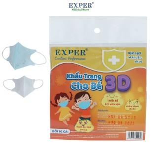 [HCM]Khẩu trang y tế EXPER 3D cho bé dưới 5 tuổi - bịch 10 cái tiện lợi màu xanh. Khẩu trang y tế 3D 4 lớp cao cấp chính hãng cho bé yêu thumbnail