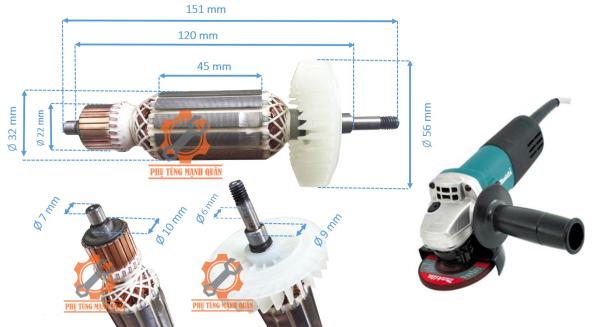 rotor/ruột máy mài MAKITA 9553 BAW tặng kèm chối than cao cấp