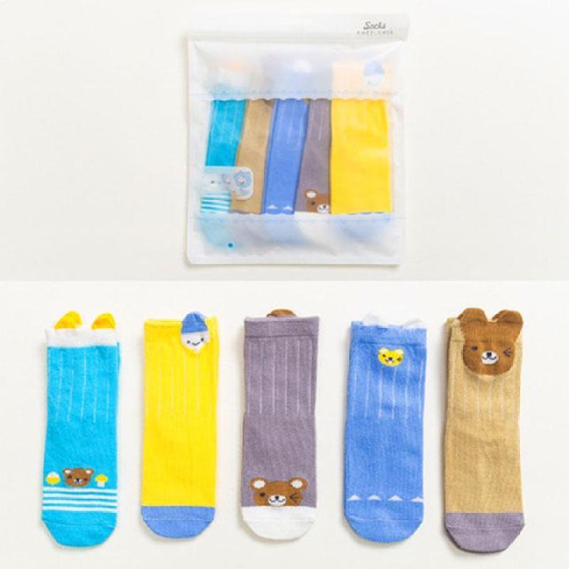 Set 5 đôi vớ cao cổ cho bé 1-12 tuổi họa tiết hình thú màu sắc tươi tắn BBShine – T010