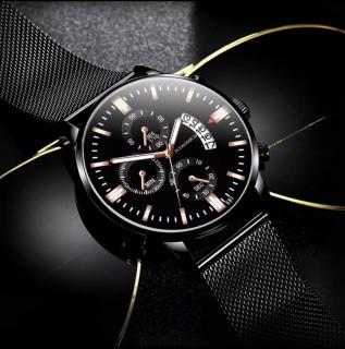 Đồng hồ nam dây thép lụa đen ECONOMICXI chạy lịch ngày cao cấp - Mẫu MỚI 2020 GAD20 thumbnail