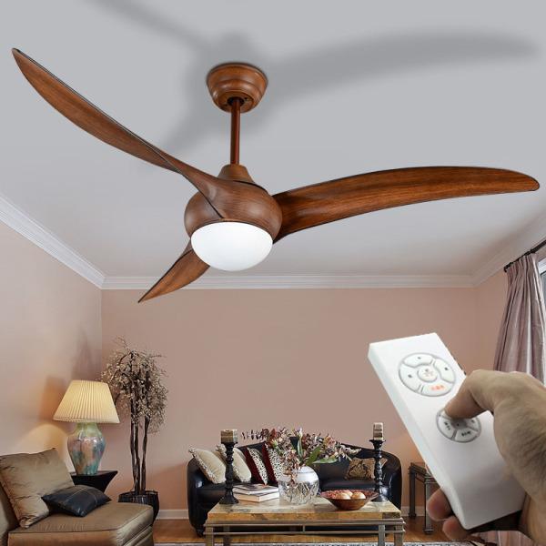 Quạt Trần Đèn phong cách MỸ, Quạt trần phòng khách hiện đại tối giản [3 cánh nhựa vân gỗ 52inch, Đèn LED] SLY8024