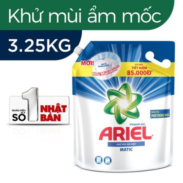 Nước Giặt Ariel Tui 3.25L Khử Mùi Ẩm Mốc