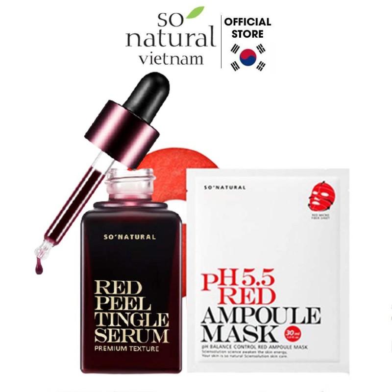 Bộ Serum Da Mụn Dưỡng Da Cấp Ẩm Cho Mặt Red Peel Tingle Serum Premium 20ml Red Mask PH.5.5 30ml So Natural giá rẻ
