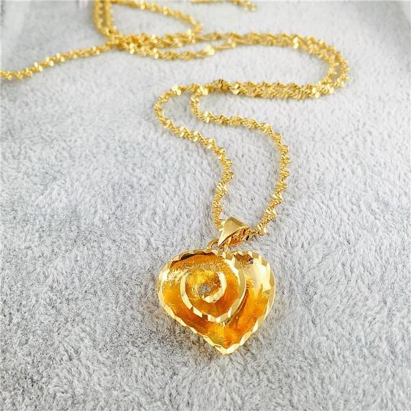 Mẫu Mới Mô Phỏng Màu Vàng Xương Đòn Dây Chuyền Nữ Trái Tim Mặt Dây Chuyền Cát Vàng Đồng Xu EURO Cưới Mạ Vàng Trang Sức Không Phai Màu