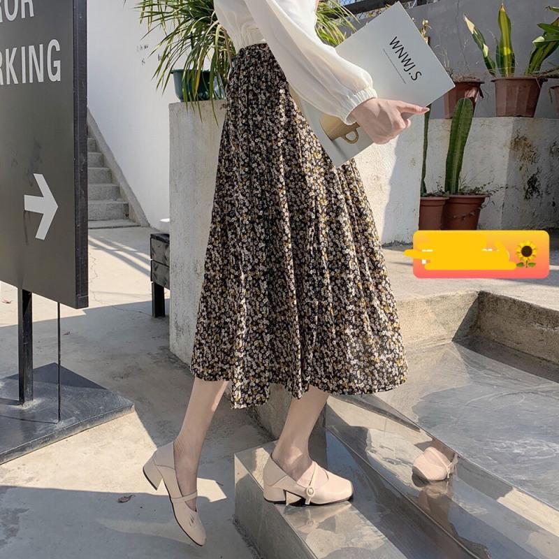 Chân váy hoa nhí Vintage dễ thương kèm màu vải thật